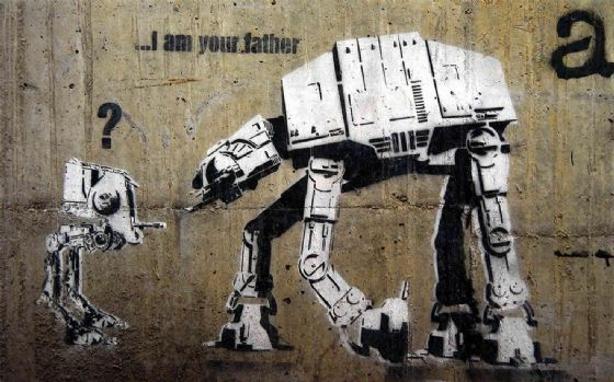 Banksy: At-At Star Wars ...I am your father. Graffiti/Street Fine Art Print/Poster. Sizes: A4/A3/A2/A1 (00350)